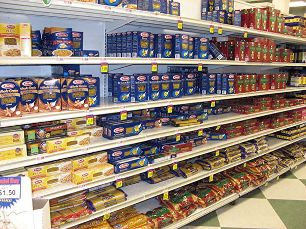 The pasta aisle is a thing of beauty, with it's boxes and bags all lined up by color and size.