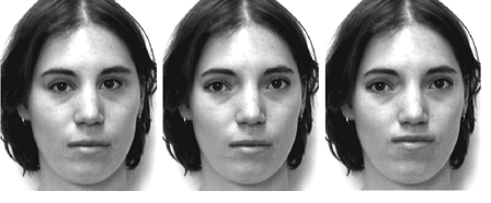 The face on the left has closer-set eyes and the face on the right has a raised mouth. The middle face is unaltered. (Barton et al, 2004)
