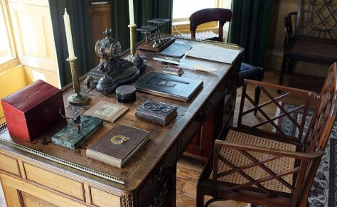 As beautiful as this desk is, I recommend a slightly more modern set-up for your home office.