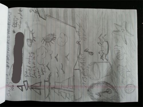"A page of  ""notes"" from the afternoon of day 2 (with the witness's name redacted)."